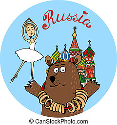 Russia tourism vector badge - Circular colorful Russia...