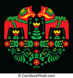 Swedish Dala horse floral pattern - Traditional Scandinavian...