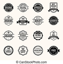 Black and White Retro Badges - Vector Black and White Retro...