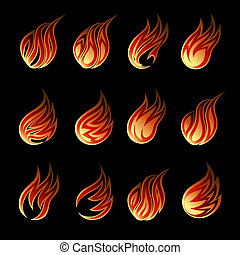 Colorful Vector Fire Icon Set Isolated on Black Background...