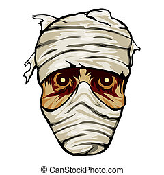 Ghoulish face of a mummy wrapped in bandages with staring...