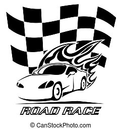 Road Race poster design in black and white with a speeding...
