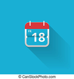 Flat vector calendar icon with a red hanger showing the date...