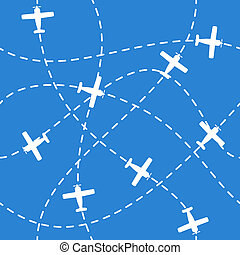 Seamless background with airplanes flying on blue - Seamless...
