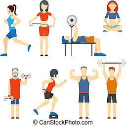 Set of people exercising at the gym - Set of colored vector...