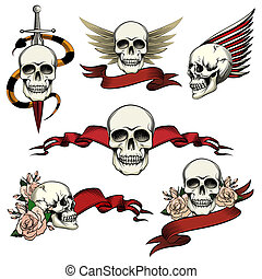 Set of commemorative skull icons