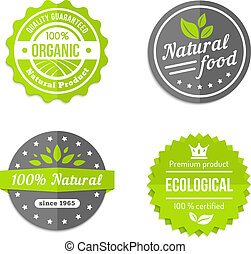 Organic natural and eco food icons set - Organic natural and...