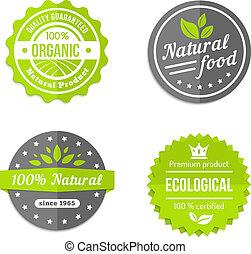 Organic natural and eco food icons set - Organic natural and...