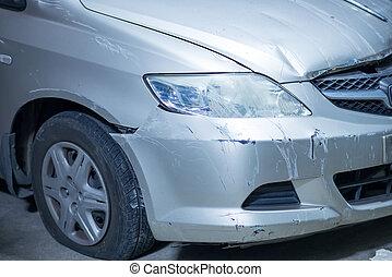 Damaged car after crash accident