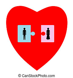 Couple heart - Two puzzle pieces with man and woman in heart