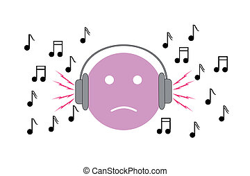 Noise - Boy listening to loud music with headphones