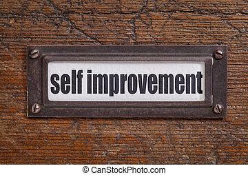 self improvement label - self improvement - file cabinet...