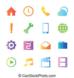 Colorful style mobile phone icons vector set