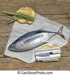Albacore fish recently, rustic still life