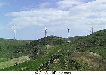 ITALY, Sicily, Eolic energy turbines - ITALY, Sicily,...