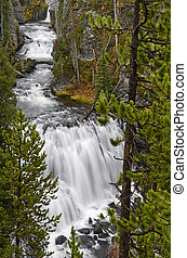 Kepler Cascades waterfall in Yellowstone National Park -...