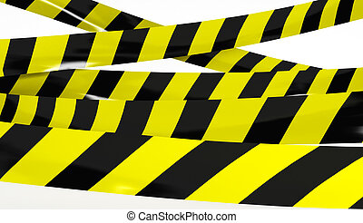 Restrictive tape yellow and black colors.