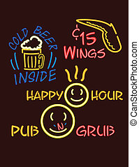 neon lights pub version 1 - Fun signs in a neon style. There...