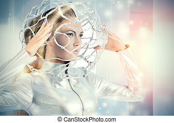 androidgirl - Beautiful young woman in silver latex costume...