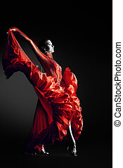 red passion - Beautiful professional dancer performs latino...