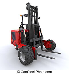 forkligft truck - 3d render of forklift truck on white