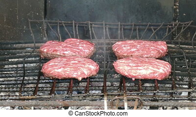 Hamburgers Cutlets Grilling on Grid