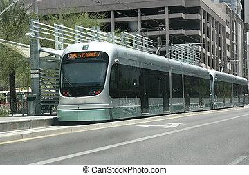 metro, trilho, estação, Phoenix, az