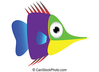 Cute colored fish cartoon
