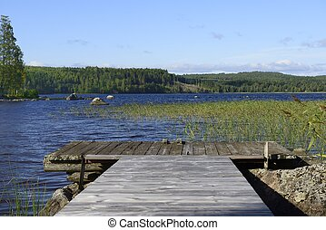 Lake in Sweden - A beautiful lake in Sweden along the Hoga...
