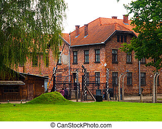 Entrance to the Auschwitz (Oswiecim) concentration camp...