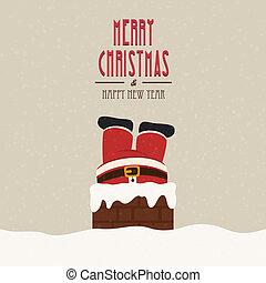 santa stuck in chimney snow background