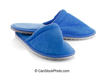 A pair of blue slippers on a white background.