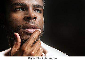 African american cute black young man portrait - African...