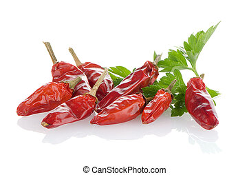 Red chili or chilli pepper and parsley leaves - Hot red...