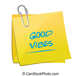 good vibes memo illustration design over a white background