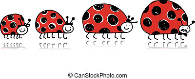Ladybird family for your design Vector illustration