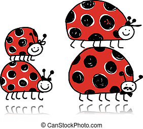 Ladybird family for your design