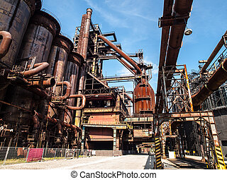 Blast furnace in steel factory - Blast furnace in...