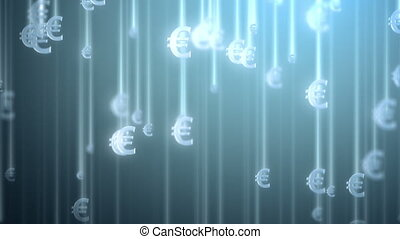 money rain background, euro. 3d animation, seamless loop....