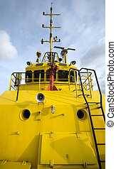 Fire Tug - The front of a fire-fighting boat, featuring the...