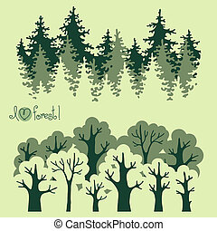 Abstract banners of green deciduous forest and coniferous...