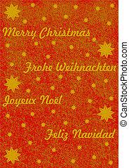 Merry Christmas in 4 Sprachen in gold auf rotem Hintergrund