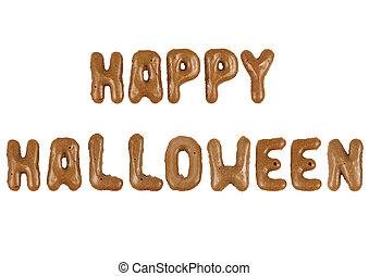 Schriftzug Happy Halloween aus Buchstabenkeksen freigestellt