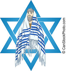 Star Of David Rabbi With Talit - Vector illustration of...