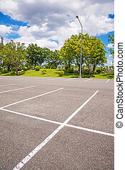 Empty Parking Lot ,Parking lane outdoor in public park