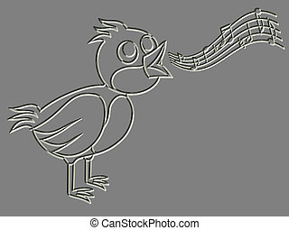 Metal relief singing bird