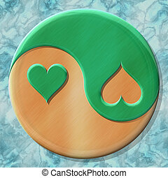 Yin-yang heart symbol with seamless generated texture...