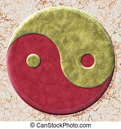 Yin-yang symbol with seamless generated texture background -...