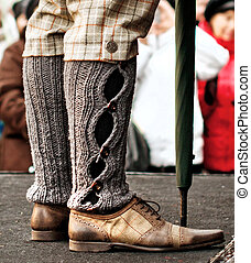 male legs in breeches and knitted socks - English retro...