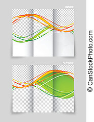 Tri-fold brochure template design with orange and green...